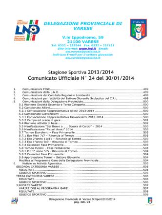 Comunicato ufficiale N.24 - Comitato di VARESE