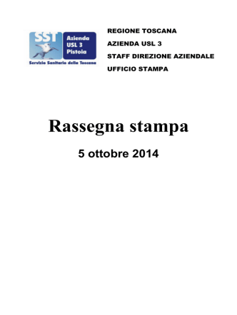 20141005 5 ottobre 2014 - Azienda USL 3 Pistoia