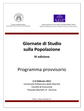 AISP – Giornate di studio sulla popolazione 2011