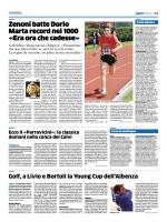 Zenoni batte Dorio Marta record nei 1000 «Era ora che cadesse»