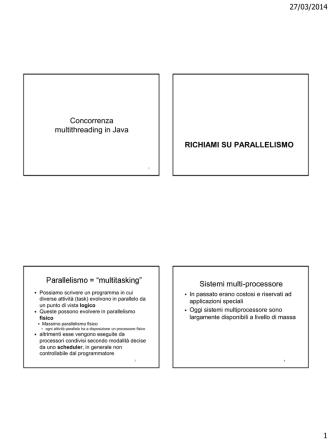 27/03/2014 1 Concorrenza multithreading in Java RICHIAMI SU