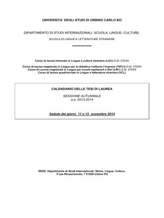 Calendario Tesi - Università degli Studi di Urbino