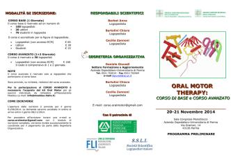 Corso Oral Motor Therapy - Associazione Logopedisti Toscani