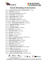 Guests Attending List Attending List by Country List by Country