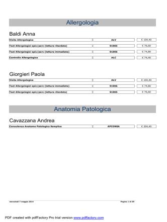 Allergologia Anatomia Patologica