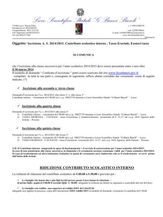Contributo scolastico interno , Tassa Erariale, Esoneri tasse