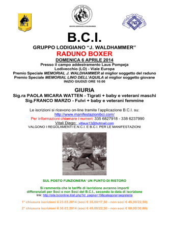 "bci gruppo lodigiano ""j. waldhammer"" raduno boxer domenica 6"