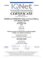 CERTIFICATE - Ordine dei Farmacisti delle Province di Milano, Lodi