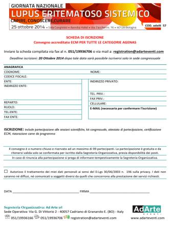 # SCHEDA#DI#ISCRIZIONE Convegno#accreditato#ECM#PER