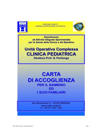 CARTA DI ACCOGLIENZA - Azienda Ospedaliera di Padova