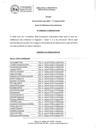 ammessi alla prova pratica - Università degli Studi di Catania