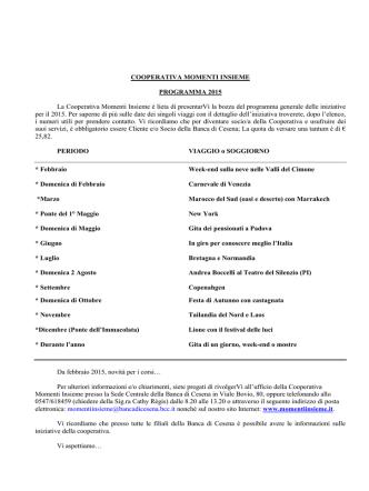 COOPERATIVA MOMENTI INSIEME PROGRAMMA 2015 La