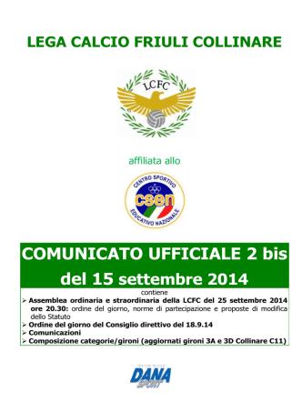Comunicato Ufficiale nr. 02 bis del 15/09/2014