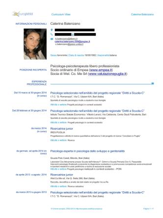 Caterina Balenzano Psicologa-psicoterapeuta libero professionista