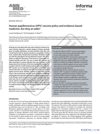 Annals of Medicine HPV Vaccine
