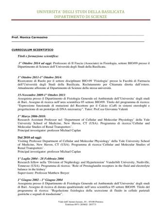 CV. carmosino - Università degli Studi della Basilicata