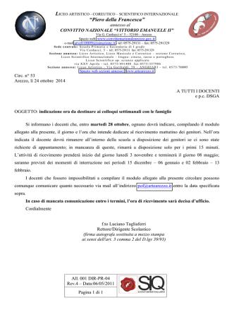 053_ricevimento docenti_allegato - Liceo Coreutico, Piero della