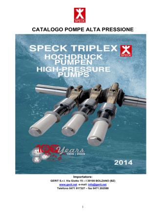 CATALOGO POMPE ALTA PRESSIONE