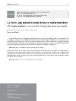 La rete di cure palliative: realtà hospice e realtà domiciliare