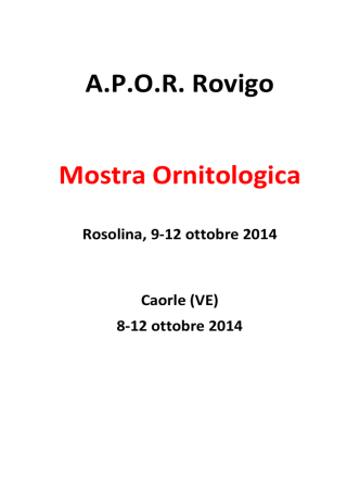 A.P.O.R. Rovigo Mostra Ornitologica