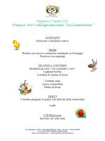 Menù di Pasqua - Agriturismo Le Clementine