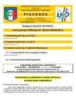 Comunicato Ufficiale N° 36 del 25/03/2015 - F.I.G.C