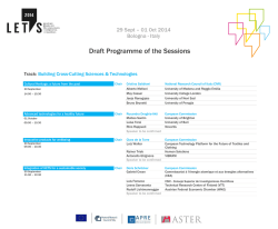 Draft Programme of the Sessions - Europe Direct Regione Lombardia