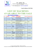 LIST OF MACHINES AVAILABLE TO THE SALE