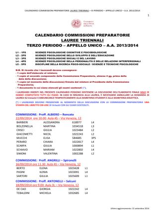 calendario commissioni preparatorie lauree triennali terzo periodo