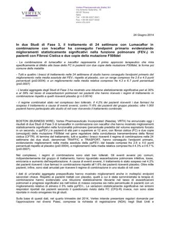 Comunicato Stampa Vertex