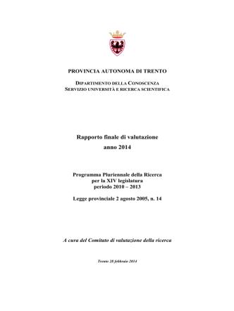 (CVR): Rapporto finale di valutazione anno 2014