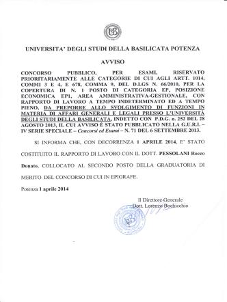 Costituzione rapporto di lavoro con il Dott. Pessolani Rocco Donato