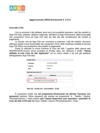 Aggiornamento ARGO-Emolumenti V. 3.31.0