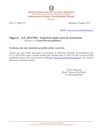 Calendario ammissioni preaccademico agg. al 2-7
