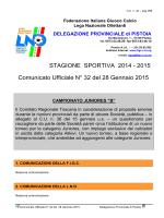 2015 Comunicato Ufficiale N° 27 del 29 Dicembre 2014