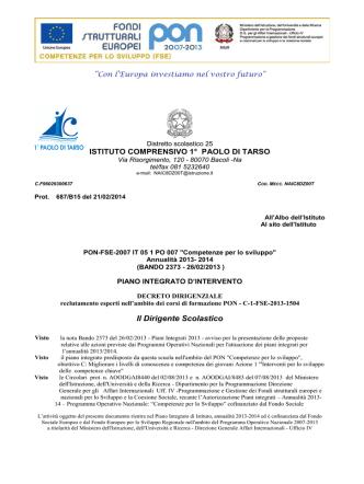 Decreto Graduatorie Esperti PON/FSE Obiettivo