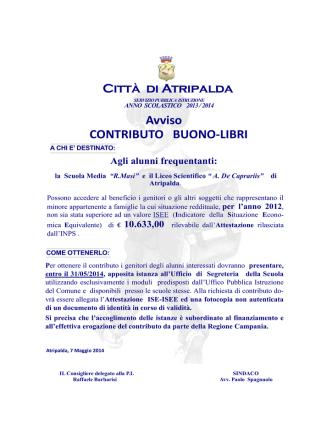 CONTRIBUTO BUONO-LIBRI Città di Atripalda Avviso