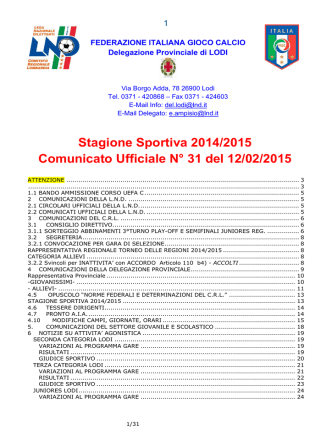 Comunicato Ufficiale N. 31