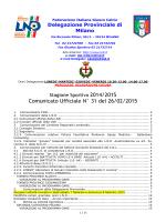 Comunicato Ufficiale N° 31 del 26/02/2015