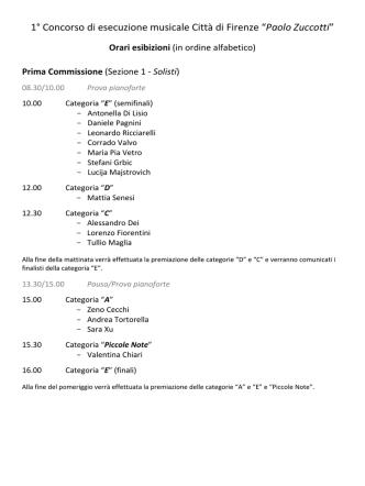 """1° Concorso di esecuzione musicale Città di Firenze """"Paolo Zuccotti"""""""