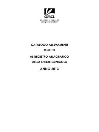 Catalogo Allevamenti R.A. 2013