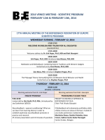 2014 VENICE MEETING - SCIENTIFIC PROGRAM FEBRUARY 12th