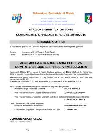Comunicato 19 - FIGC Gorizia