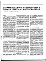 Caratterizzazione geolitologica e tecnica delle calcareniti Pugliesi