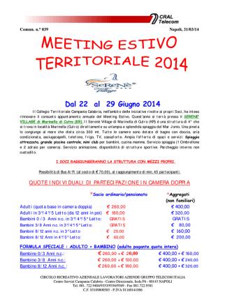 Cral Telecom: Meeting estivo territoriale 2014