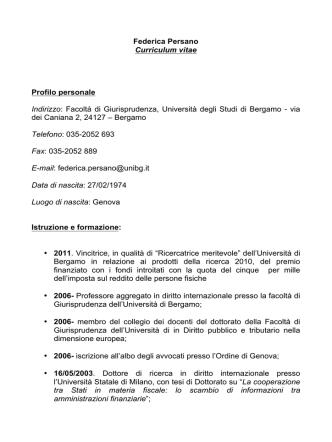 CV giugno 2014 - Università degli studi di Bergamo