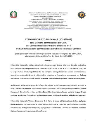 Atto di Indirizzo 2014/2017 - Convitto Nazionale Vittorio Emanuele II