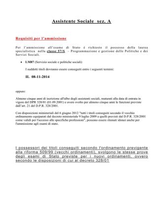 Assistente Sociale sez. A - Università degli Studi di Messina