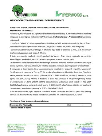 Capitolato Wpc Legno Composito Pannelli Plotta