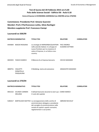 Calendario tesi ECONOMIA AZIENDALE